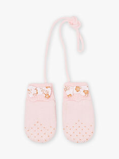 Baby girl pink knitted mittens with bow BIPROMESSE / 21H4BFD1GAN321