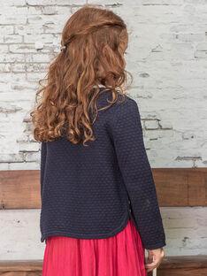 Girl's dark blue knitted cardigan BRODIGETTE3 / 21H2PFB2CARC214