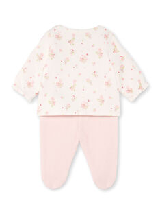 White and pink jacket with floral print and pink leggings birth girl BONNIE / 21H0NF41ENS301