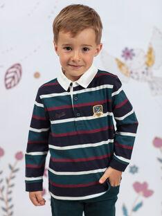 Boy's duck blue and burgundy striped polo shirt BEROINAGE / 21H3PG91POL715