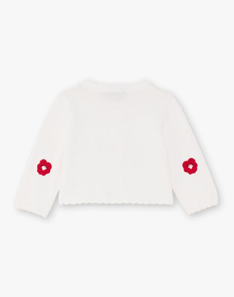 Baby girl ecru long sleeve cardigan BAAMBRE / 21H1BF11CAR001