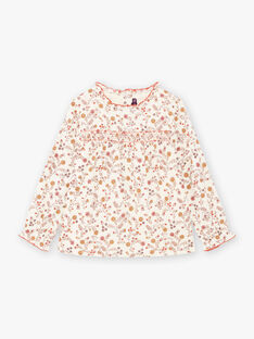 Girl's long sleeves blouse with flowery print BUVIETTE / 21H2PFJ1CHE001