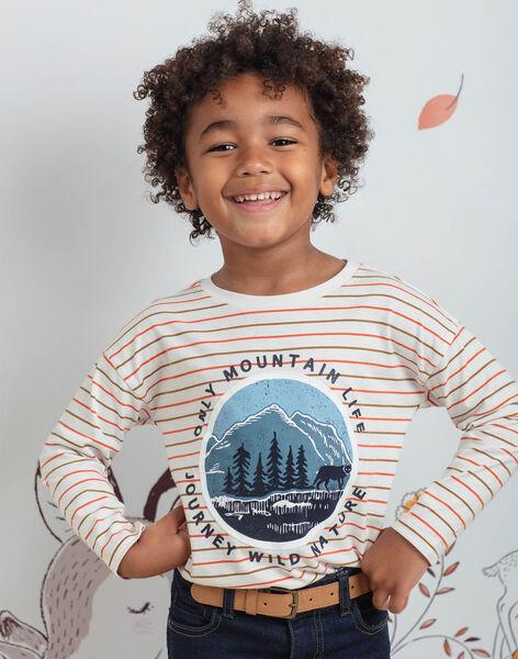 Boy's ecru and orange striped T-shirt BIFIAGE / 21H3PGJ2TML001