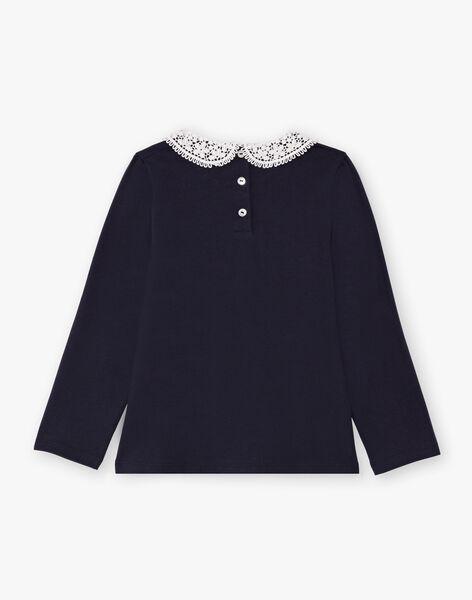 Navy blue long sleeve t-shirt child girl claudine collar BROTOZETTE3 / 21H2PFB3TMLC214
