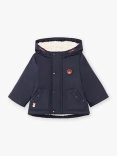 Baby boy's navy blue hooded raincoat BIMARTIN / 21H1BGC2IMP070