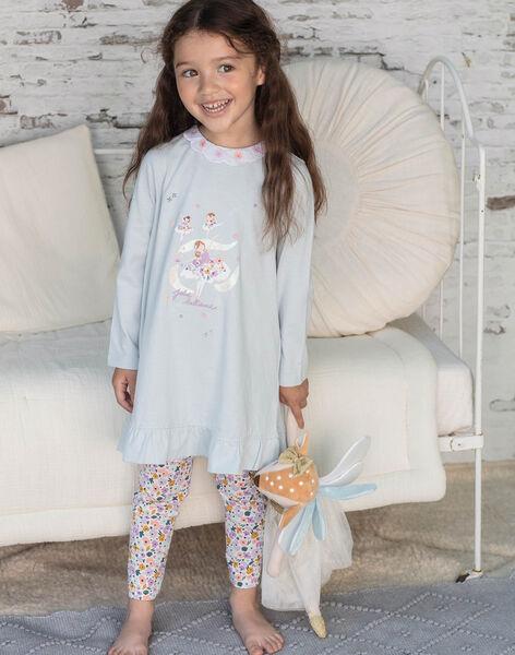 Girl's pyjama nightdress and leggings sky and orange BEBALETTE / 21H5PF61CHNC227