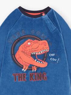 Boy's pyjama T-shirt and pants navy blue and white BEDINAGE / 21H5PG65PYJ208