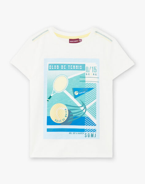 White and blue T-shirt for boys ZEBILAGE / 21E3PGO1TMC001