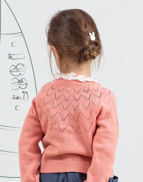 Long sleeve pink cardigan rabbit design child girl BYCARETTE / 21H2PFL1CAR415