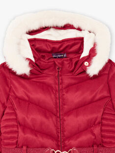 Baby girl's red reversible padded jacket with fancy print BLODODETTE1 / 21H2PFD2D3ED302