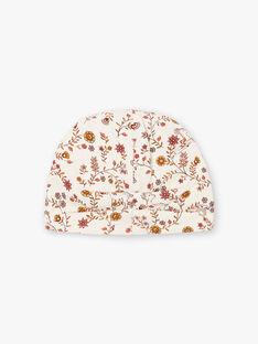 Baby girl's ecru floral print beanie BINANA / 21H4BFC4BON001