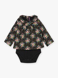 Baby girl black long sleeve floral print bodysuit BAMELODIE / 21H1BFM2BOD090