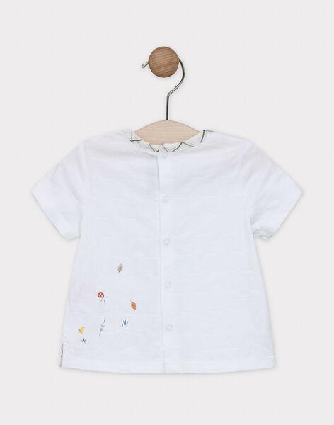 Baby boys' short-sleeved plain ecru T-shirt with print design on chest. SABARNABE / 19H1BG21TMC001