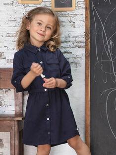 Girl's ink blue safari dress BRORECETTE1 / 21H2PFB6ROBC214
