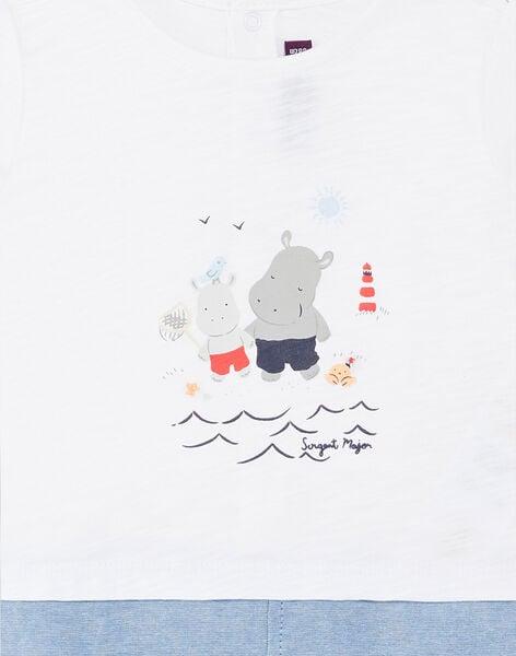 White and blue baby boy jumpsuit ZAOUEST / 21E1BGT1CBL000