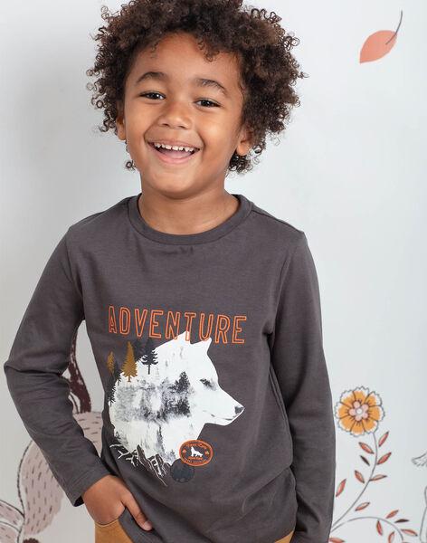 Boy's charcoal grey wolf print t-shirt BIDIBAGE / 21H3PGJ1TMLI808