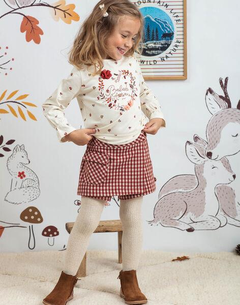 Girl's red check skirt-short BUSHOETTE / 21H2PFJ1SHO001