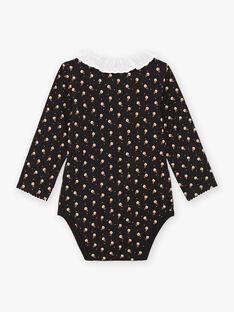 Baby girl's black long sleeve bodysuit with ruffled collar BAMIMI / 21H1BFM1BOD090