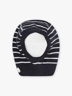 Baby boy navy blue striped knit hood BIRUFUS / 21H4BGE5BONC205