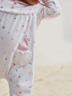 Baby girl's ecru romper with Claudine collar and fancy print BEJASMINE / 21H5BF72GRE001