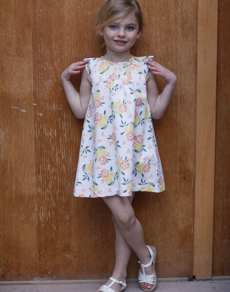White and yellow dress printed lemon and floral flower girl child ZICITETTE / 21E2PFO1ROB000