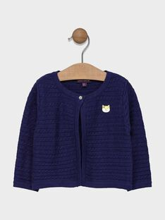 Baby girls' navy cable knitted cardigan. SAEMMA / 19H1BF41CAR070
