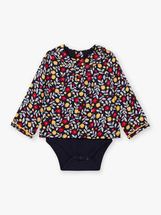 Baby girl's navy blue blouse with flowery print BAELISE / 21H1BF51BOD070