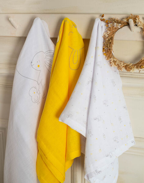 Set of 3 organic cotton swaddles for baby boys and girls ZOLOUISON / 21E0AMY1LAN000