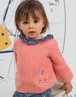 Baby girl's fine pink knit sweater with apple embroidery BAKELLIE / 21H1BFL1PUL415