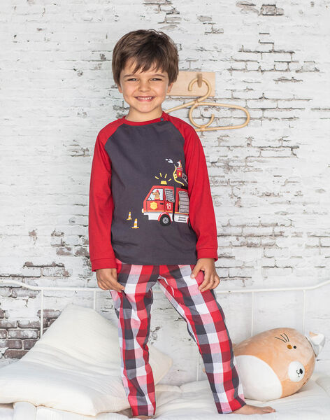 Boy's long-sleeved pyjamas with fire truck animation BEFIRAGE / 21H5PG66PYJ942