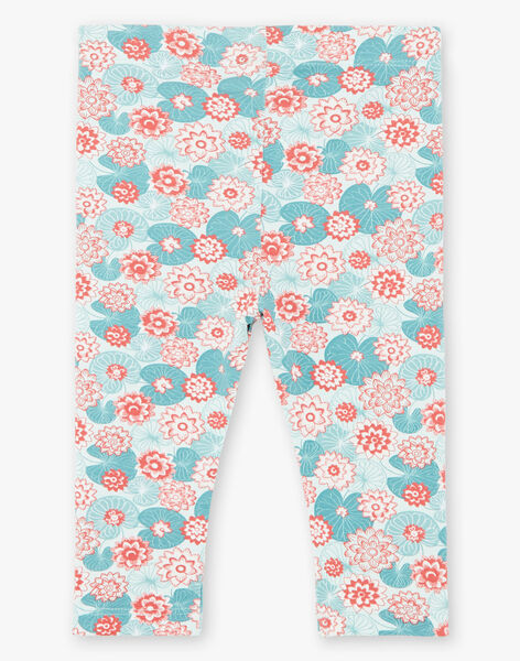 Green and coral boxer shorts with lotus flower print in jersey ZACLAIRE / 21E4BFI2CAL629