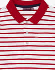 Boy's red and white striped long sleeve polo BACLOAGE / 21H3PG11POL001