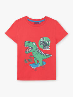 Red T-shirt with dinosaur pattern ZUZAGE3 / 21E3PGL2TMC050