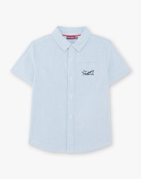 Light blue short-sleeved striped shirt boy's boy's stripes ZITOTAGE / 21E3PGT1CHM000