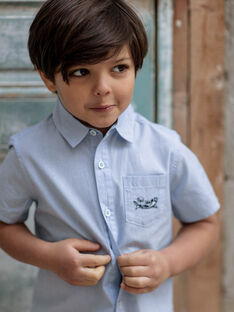 Light blue short-sleeved striped shirt boy's boy's stripes ZITOTAGE / 21E3PGT1CHM000