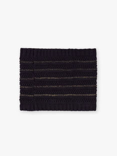 Girl's navy blue knitted snood with gold details BLOPUETTE / 21H4PFC1SNO070