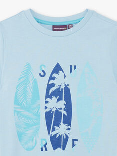 Sky blue T-shirt with surfs patterns ZUZAGE4 / 21E3PGL4TMC020