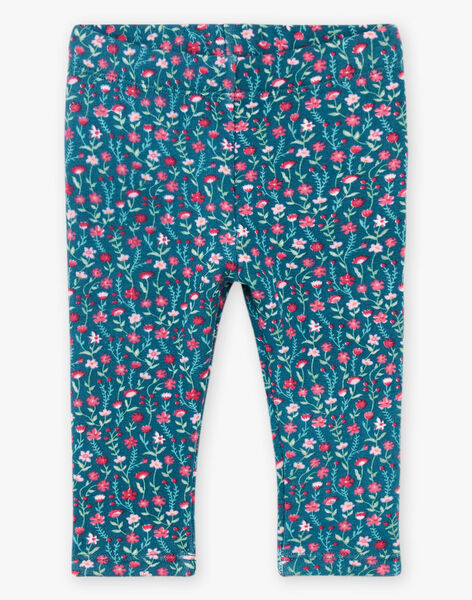Baby girl duck blue legging with flower print BAGLADYS / 21H4BF91CAL714