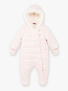 Baby girl's pink and gold leaf print jumpsuit BISONIA / 21H1BFE1PILD327