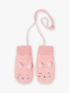 Pink mittens with cat print, child girl BLOZUETTE / 21H4PFD2GAND314