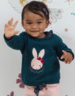 Baby girl blue rabbit sweater with floral print details BAGAELLE / 21H1BF91PUL714