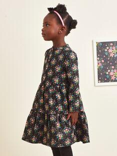 Girl's long sleeve black dress with floral print BRITNETTE / 21H2PFM1ROB090