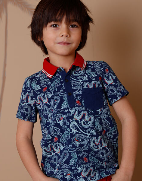 Dragon print piqué polo shirt ZAFENAGE / 21E3PGI1POL705