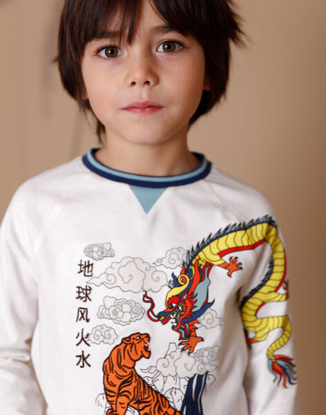 White T-shirt with fancy patterns in cotton jersey ZAGERAGE / 21E3PGI1TML001