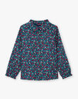 Girl's long sleeve blue duck blouse with floral print on stand-up collar BOMETTE / 21H2PF91CHE714