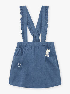 Blue skirt with straps with rabbit print for girls BYJUPETTE / 21H2PFL1JUP222