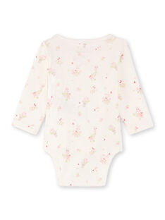 2 ecru and pink bodysuits for girls BOUDOUR / 21H0NF41BOD301