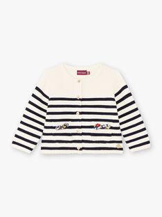 Baby girl ecru and navy blue striped vest BAELODIE / 21H1BF51CAR001