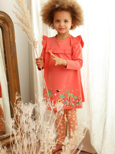 Nightdress and leggings coral and orange coral leggings child girl ZEDORETTE / 21E5PF11CHN419
