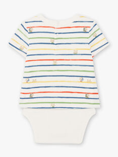 Baby boy's ecru and blue striped bodysuit TARAFAEL / 20E1BGQ1BOD001